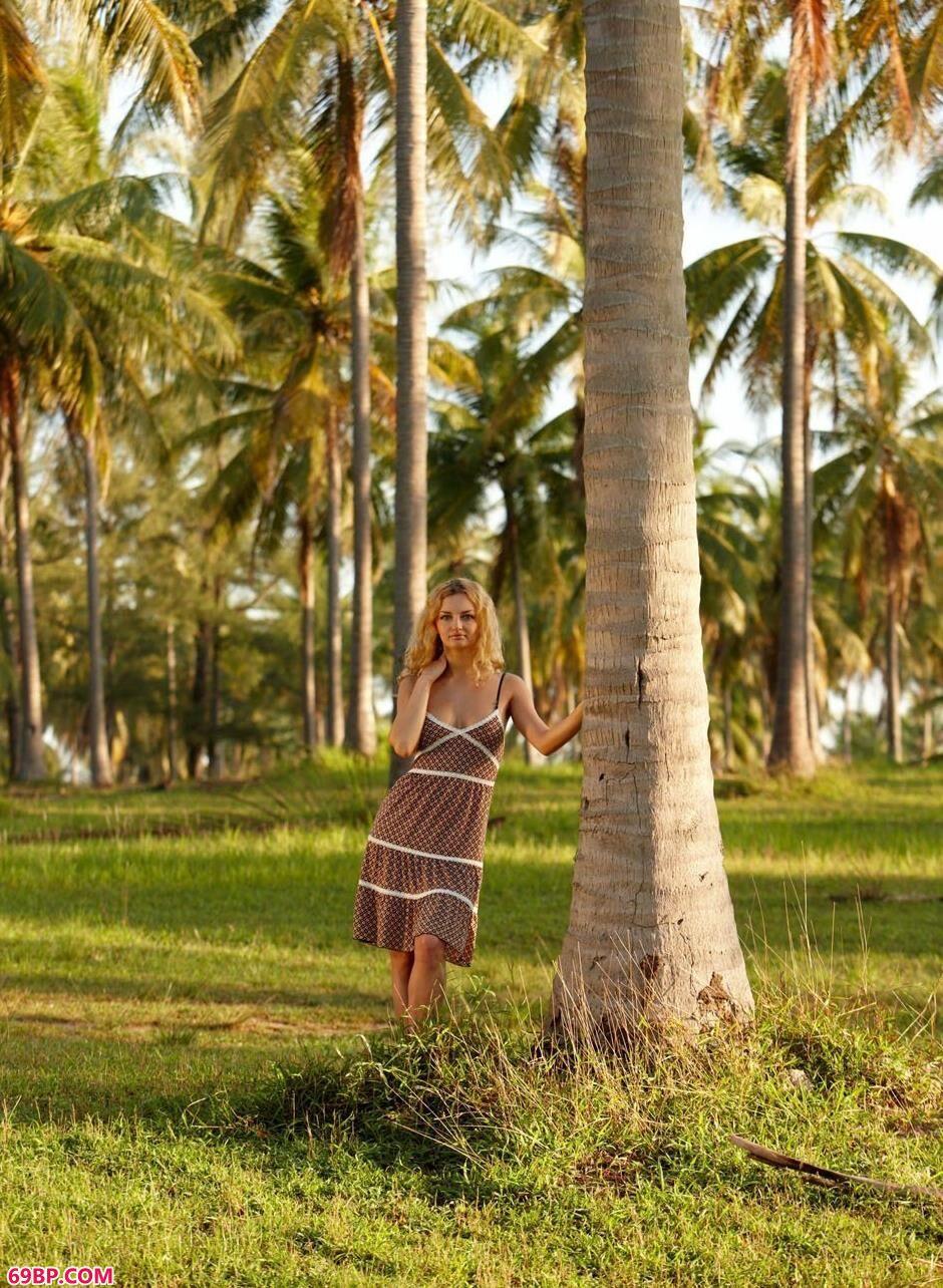 美模Helen在椰子树林里的勾魂美体1